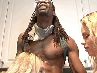 Charming auntie Angela Attison and her pretty niece Britney Young enjoy fucking with ebony fellow with big schloeng