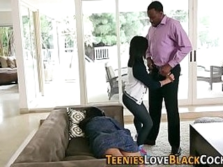 Tiny teenager fucks sucks and tugs on huge black dong in hd