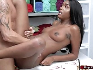 Store security arrests teen ebony for licking some ice cream in the store.The officer conducts a strip search and after that,she tells him that shes willing to suck his dick just to let her go.The officer pulls out his cock and lets her throat it.