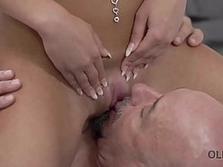 OLD4K. Old and young sex session of brunette coquette and old man