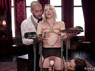 Blonde young babe has rough threesome bdsm sex in multiple positions
