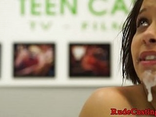 Casting teenie pounded hard and jizzed on