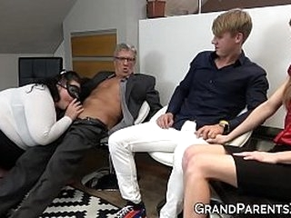 Mature couple teaches two young swingers