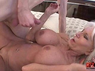 Naughty grandma shows grandson how to fuck.