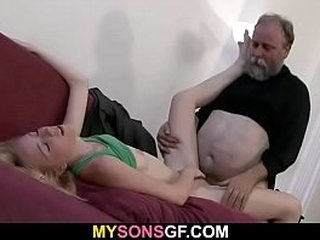 Guy finds old dad fucking his young GF
