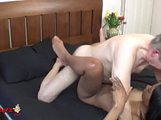 Young Black MILF Sucks And Fucks Old Photographer While Relaxing Inbetween Scenes