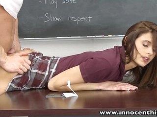 InnocentHigh Smalltits schoolgirl teen rides teachers cock 12 min