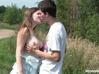 Busty teen Charlotte gets nailed outdoors 9 min