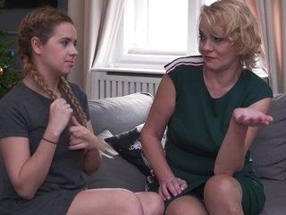 A mature blonde enjoying a young lesbian