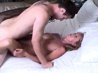 Mature stepmom let her 18yo stepson cum inside her still tight pussy