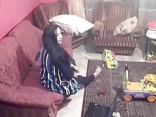 Spy camera records couple fucking in the living room