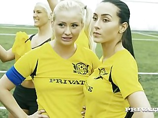 Soccer Sweeties Ana Rose & Cayla Lions get their sweaty snatches fucked as 4 hard cocks bang them to total orgasm & give these 2 pretty girls a face full of cum! Full Flick & 100's more at Private.com