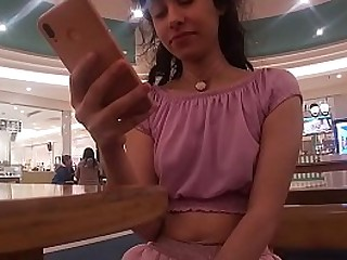 Naked at the mall with cum on her face!!!