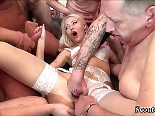 GERMAN TEEN HELENA IN EXTREM FUCK and SQUIRT GANGBANG Part 1